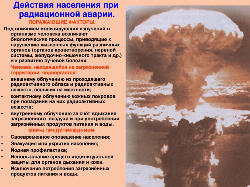 Правила поведения при радиационной аварии майл